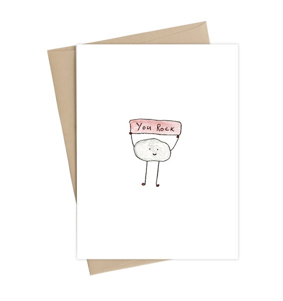 just because card you can do it card Rock On Card friendship card congratulations card Blank Inside  funny card