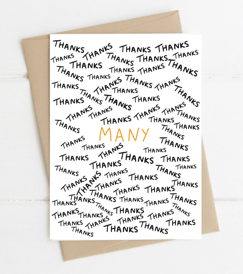 Many Thanks // Funny Thank You Card // Thank you card image 0