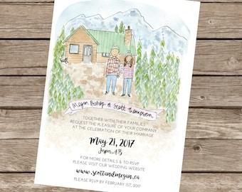 Custom Wedding Invitation Service // Watercolour wedding invitation // Portrait Wedding Invitation