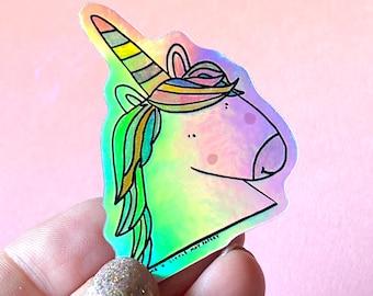 Holographic unicorn sticker // vinyl sticker // unicorn sticker