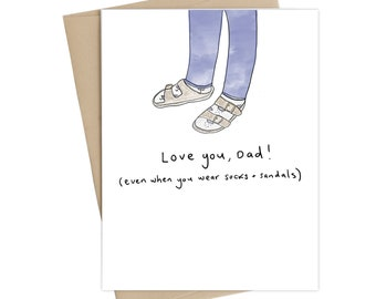 Funny fathers day card// Socks + Sandals