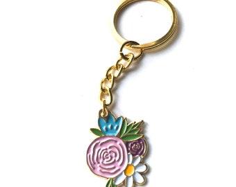 Floral Keychain // Enamel Keychain // Peony Keychain