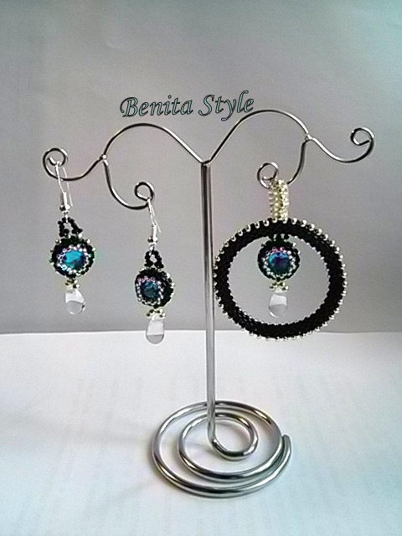 Small Dangling Earrings Beading Earrings  blue Beaded Small Earrings Beadwork Earrings black Beading Rivoli Earrings silver