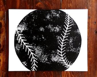 Baseball / Softball Art Print - hand-carved & printed baseball (11 x 14 inches) black or custom color