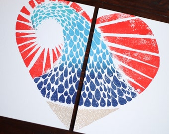 colored LOVE THE BEACH hand-carved & printed heart (two 11 x 14 inch prints)