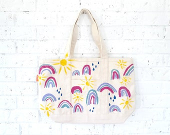 Painted Rainbow, Sunshine, Rain Canvas Tote Bag / Happy Bag / Classic All Natural Market Tote Bag / Playful Weather Carry All Purse