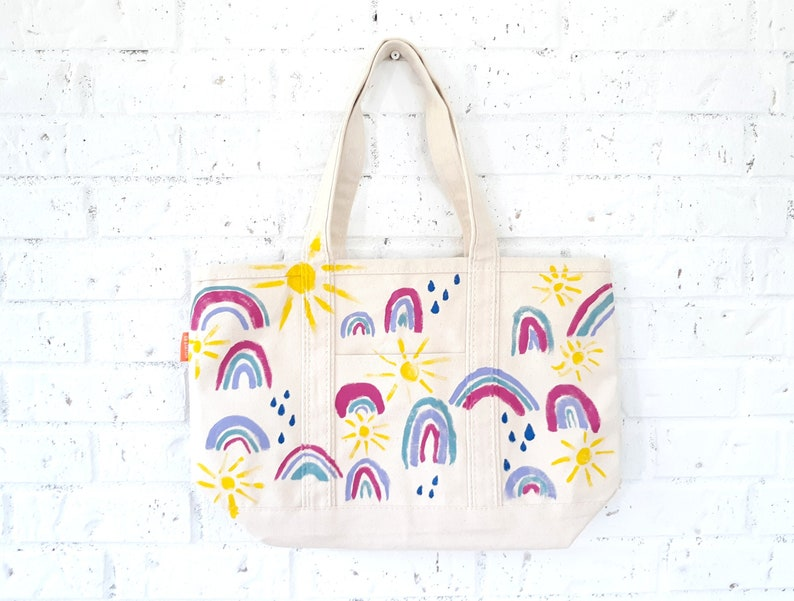 Painted Rainbow Sunshine Rain Canvas Tote Bag / Happy Bag / image 0