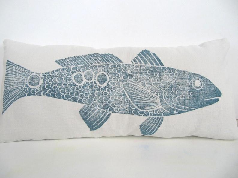 Lumbar Pillow Cover REDFISH fish 14 x 28 inch  color: navy image 0