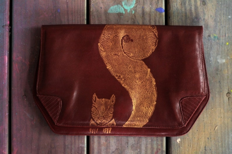 vintage leather clutch with gold squirrel & nuts / vintage image 0