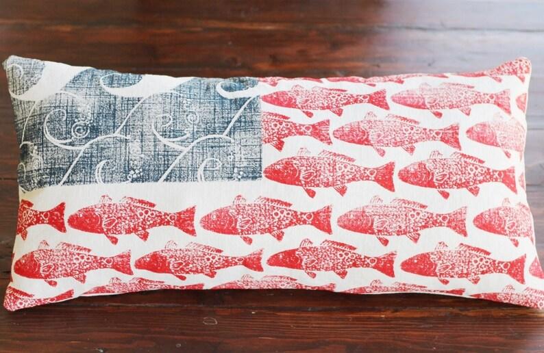 Coastal American Flag Lumbar Pillow Cover: WAVES and FISH image 0
