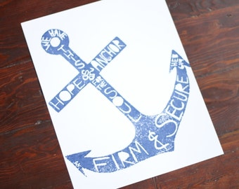 hand-carved & printed ANCHOR (11 x 14 inches) color: navy blue