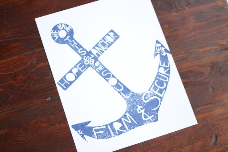 hand-carved & printed ANCHOR 11 x 14 inches color: navy blue image 0