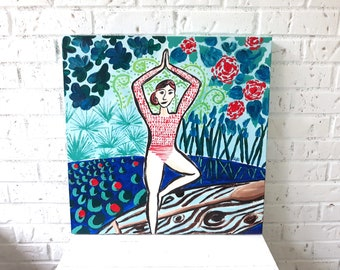 Yoga Paddle Boarding Original Acrylic Painting 20 x 20 inches
