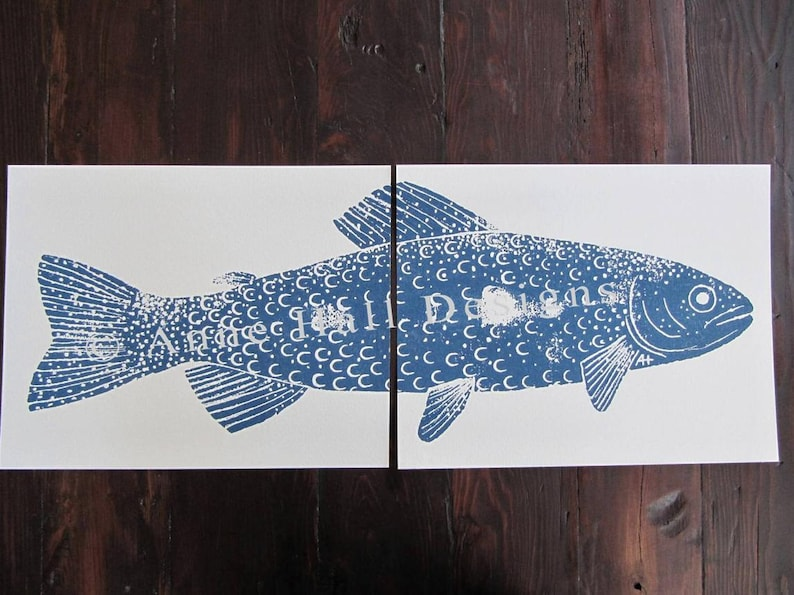 RAINBOW TROUT Hand-Printed two 11 x 14 inch prints image 0