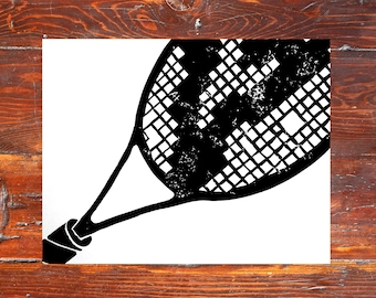 Tennis Racket Art Print - hand-carved & printed  (11 x 14 inches) black or custom color