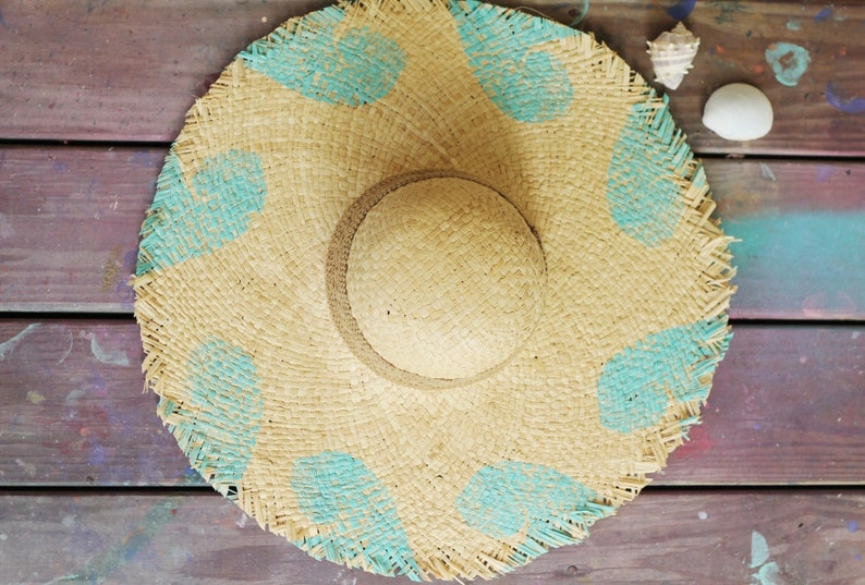 Raw Edged Sun Hat   Blockprinted Waves image 0
