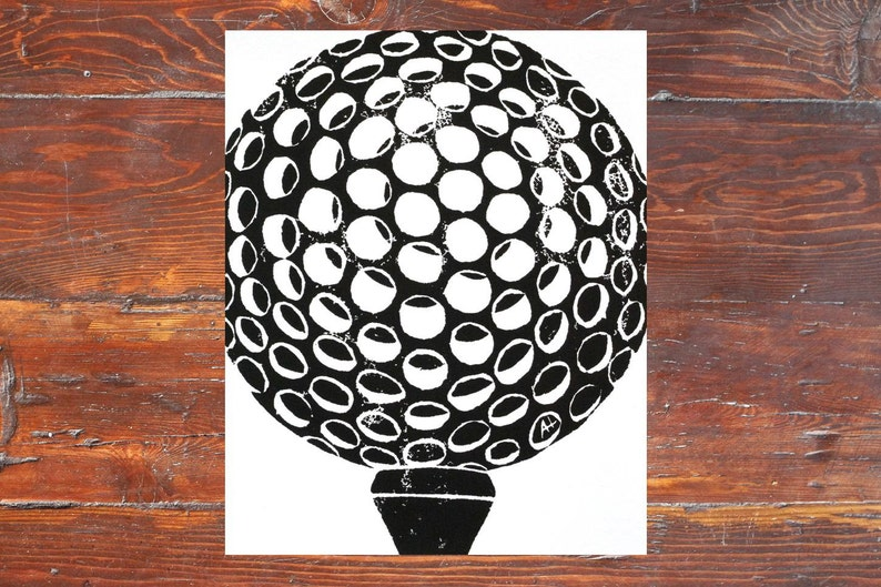 Golf Art Print  hand-carved & printed Golf Ball with Tee 11 image 0