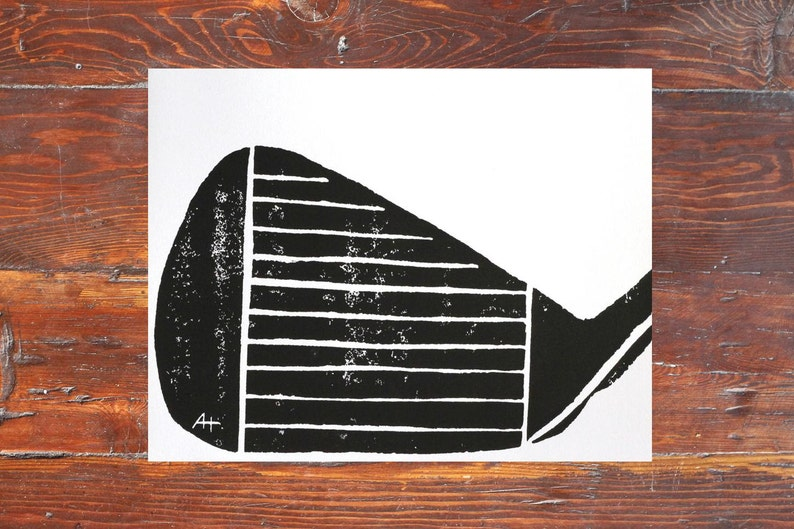 Golf Club Art Print  hand-carved & printed Iron Face 11 x 14 image 0