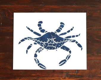Crab Print, Kitchen Art - hand-carved & printed crab (11 x 14 inches) navy blue or red