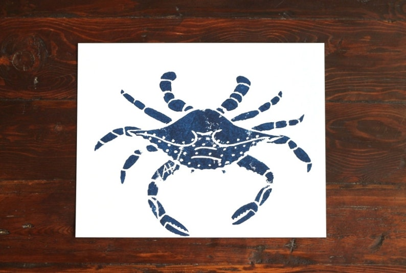 Crab Print Kitchen Art  hand-carved & printed crab 11 x 14 image 0