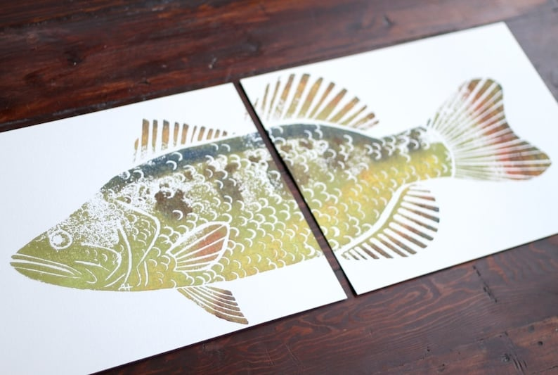 colored LARGEMOUTH BASS Hand-Printed two 11 x 14 inch prints image 0