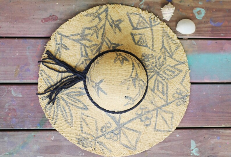 Raw Edged Sun Hat   Hand Painted Plants image 0