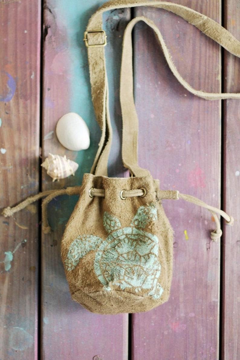 Turtle Suede Drawstring Purse / Sea Turtle Bag image 0