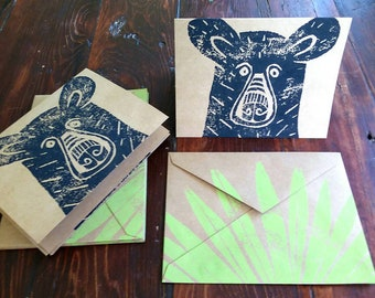 Block Printed Bear Note Card Set / Woodland Cards, Black Bear with Palmetto Note Cards