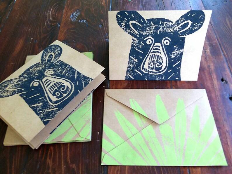 Block Printed Bear Note Card Set / Woodland Cards Black Bear image 0