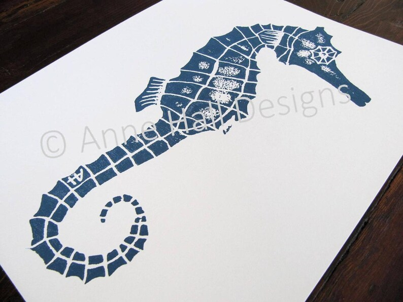 original print hand-carved & printed SEAHORSE 11 x 14 image 0