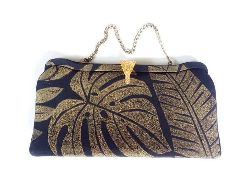 vintage clutch with gold monstera & banana leaf / tropical image 0