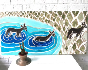 Deer Crossing Original Acrylic Painting 30 x 15 x 1.5 inches