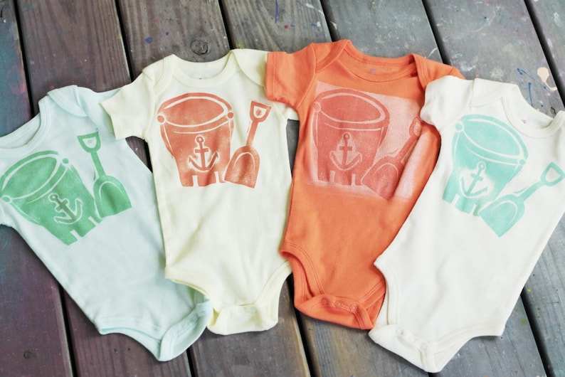 Hand Painted/Printed Sandcastle Construction Crew Bodysuits image 0
