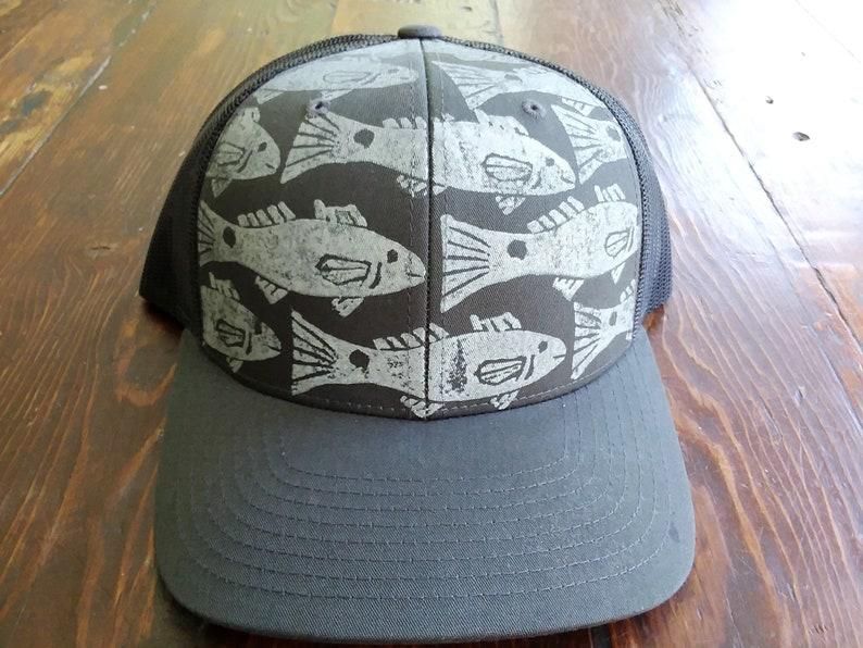 Block Printed Redfish Retro Trucker Hat    Grey image 0