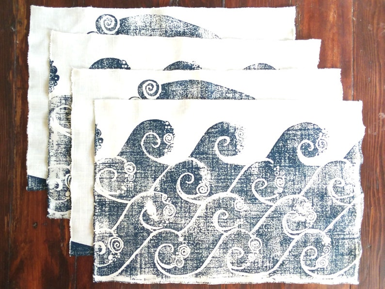 Natural Linen WAVE Placemets Set of 4 image 0