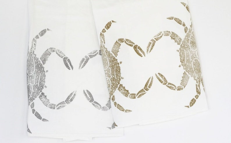 crab flour sack towel: gold or silver image 0