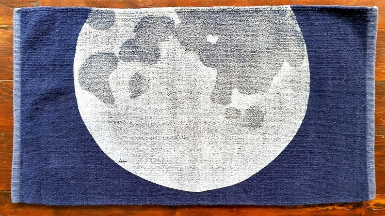 bath rug bath mat MOON / SPACE cotton chenille rug image 0