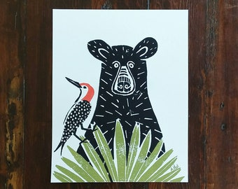 Black Bear and Woodpecker Art Print - hand-carved & printed  (11 x 14 inches)