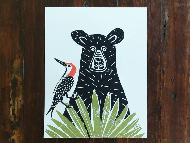 Black Bear and Woodpecker Art Print  hand-carved & printed image 0