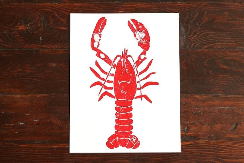 Lobster Print Kitchen Art  hand-carved & printed lobster 11 image 0