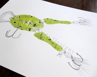 VINTAGE FROG LURE Hand-Printed (11 x 14 inches)
