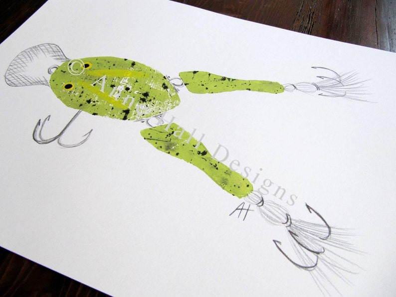 VINTAGE FROG LURE Hand-Printed 11 x 14 inches image 0