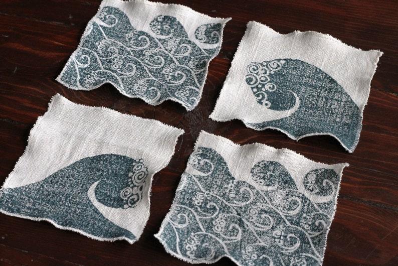 linen cocktail / drink napkins or coasters Set of 4 WAVES image 0