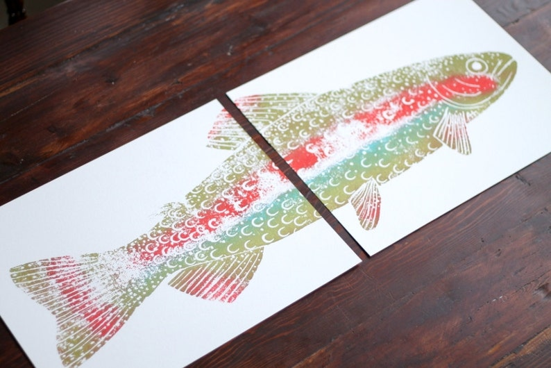 colorful RAINBOW TROUT Hand-Printed two 11 x 14 inch prints image 0
