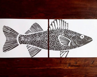 Walleye fish original print - hand carved and printed (two 11 x 14 inch prints)