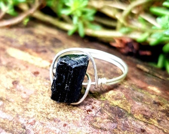 Double Core Tourmaline and Bronze Ring Black Tourmaline Raw Black Tourmaline Core Ring Schorl Womens Ring Mens Ring