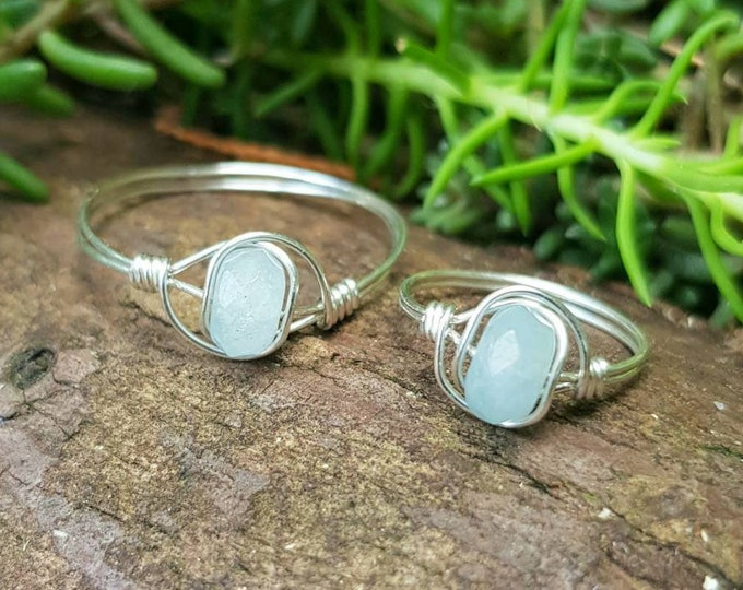 Purity Relaxation  Communication  Protection gift Aquamarine 925 Sterling silver ring Mermaid ring  March Birthstone  Aquamarine ring