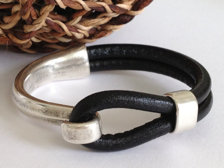 Black Leather Bracelet Antique Silver Hook Clasp Leather Etsy