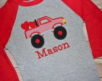 Boy Valentine shirt, Monster truck Valentine shirt, Valentines Day shirt, monogrammed heart shirt, kids Valentine outfit, toddler