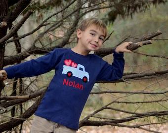 Boy Valentine shirt, Valentine truck shirt, Valentines Day shirt, monogrammed heart shirt, truck heart shirt, kids Valentine outfit, toddler